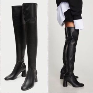Black thigh high ZARA boots